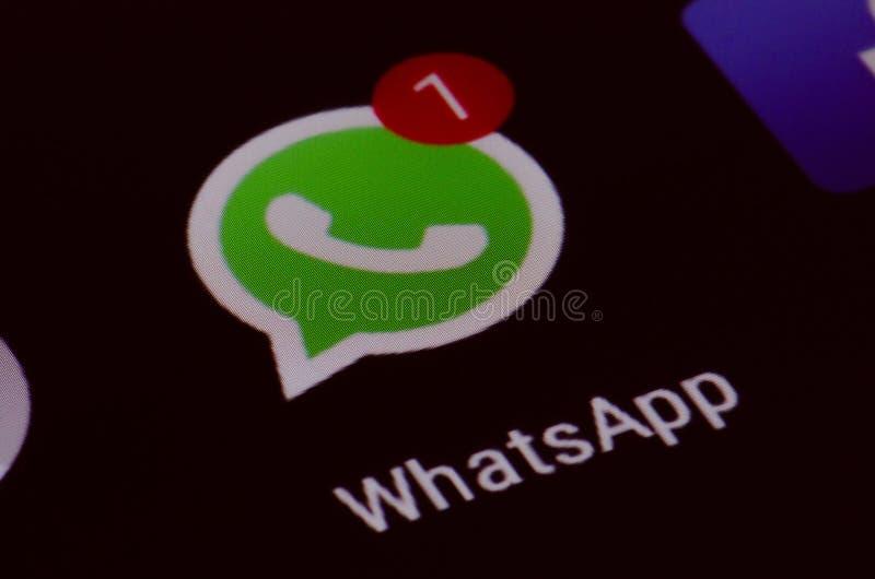 Whatsapp, nuevo mensaje, pantalla fotografía de archivo libre de regalías