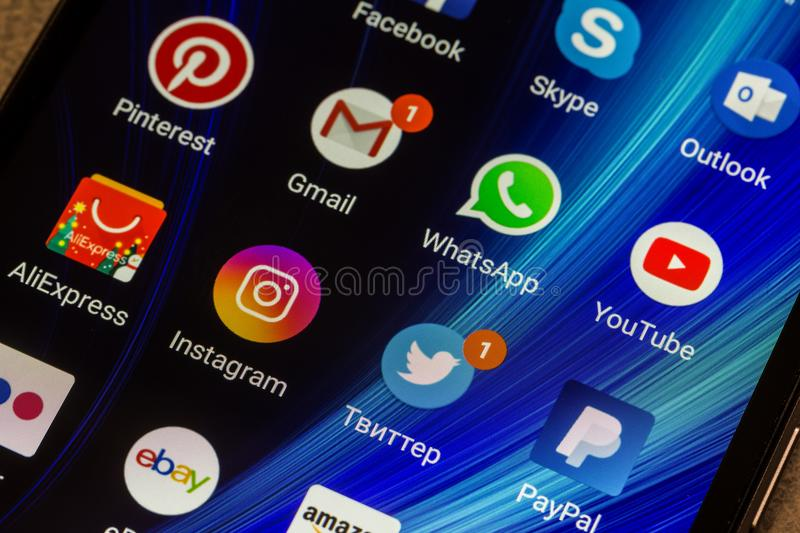 WhatsApp, YouTube, instagram, Facebook, Skype and other app icons on the smartphone screen Xiaomi. Adygea, Russia - January 3, 2018: WhatsApp, YouTube, instagram stock photo