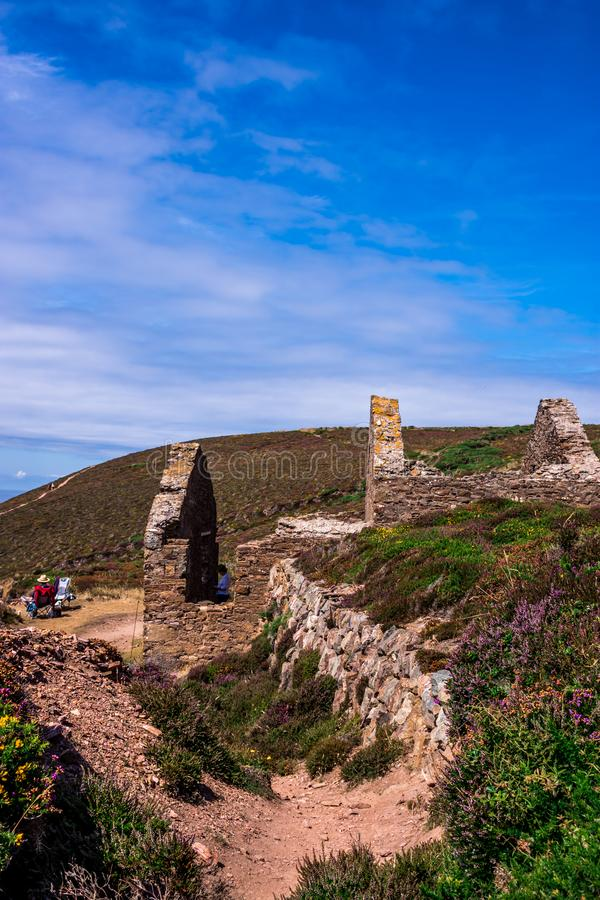 Wheal Coates, St Agnes, Cornwall, UK royaltyfria bilder