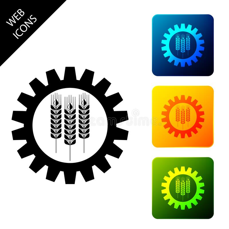 Free Wheat And Gear Icon Isolated. Agriculture Symbol With Cereal Grains And Industrial Gears. Industrial And Agricultural Stock Photo - 177145670