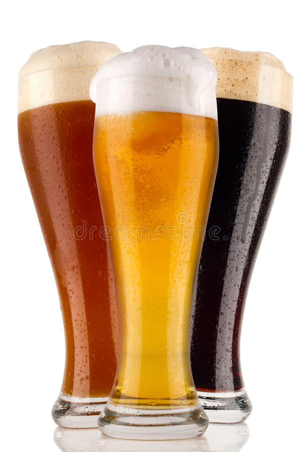 Wheat beer. Different wheat beer in front of white background