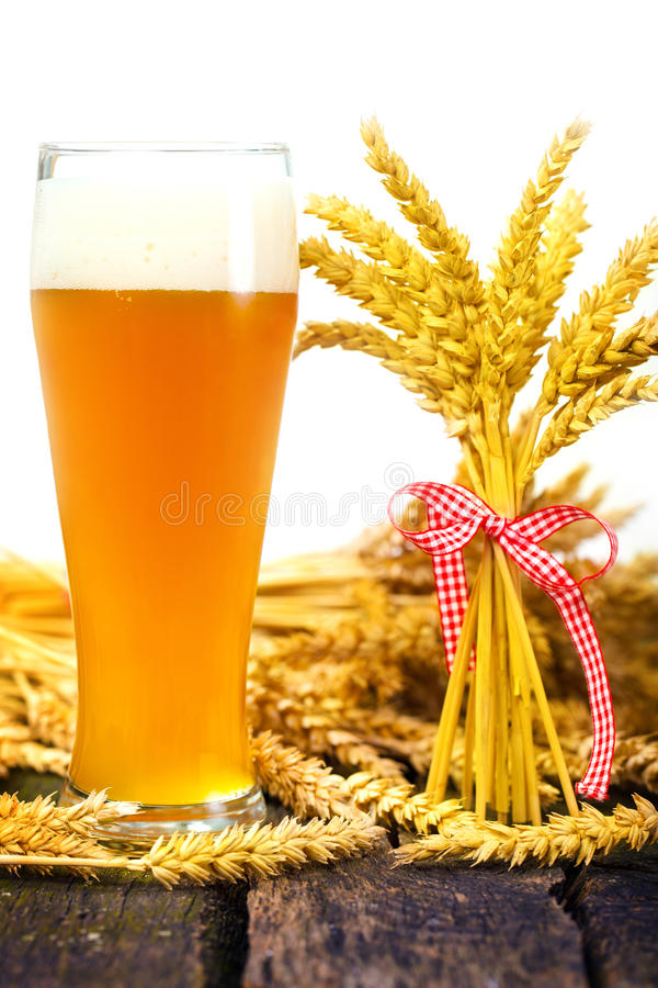 Wheat beer and wheat ears stock image