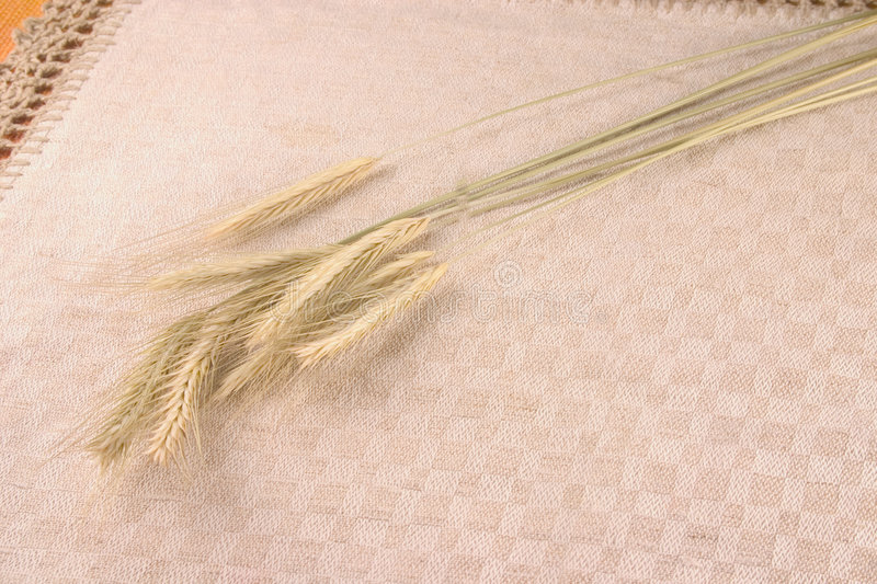 Download Wheat Crops Over Linen Tablecloth Stock Image - Image: 1530751