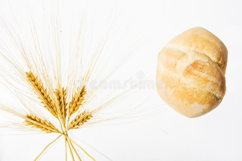 Wheat ears and bread isolated on white