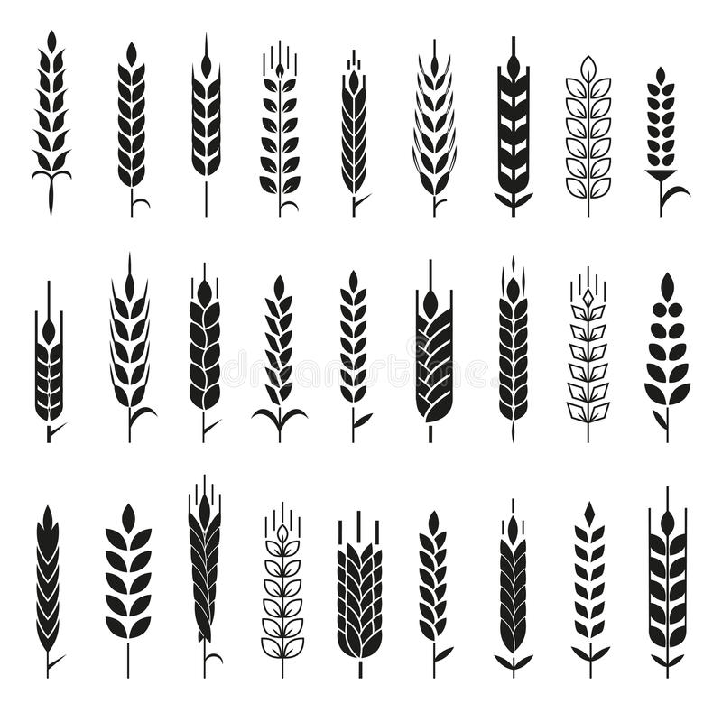 Wheat Ears Icons and Logo Set. stock illustration