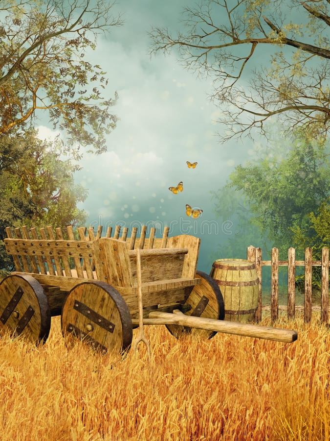 Wheat field with a cart royalty free illustration