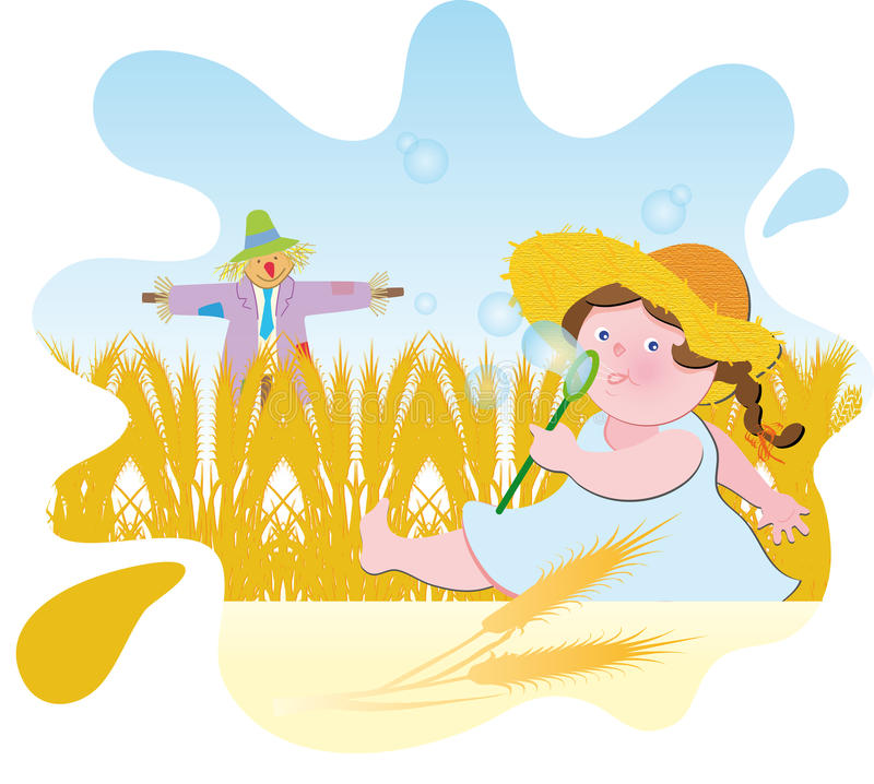 Wheat field. Girl running in the summer in the corn field