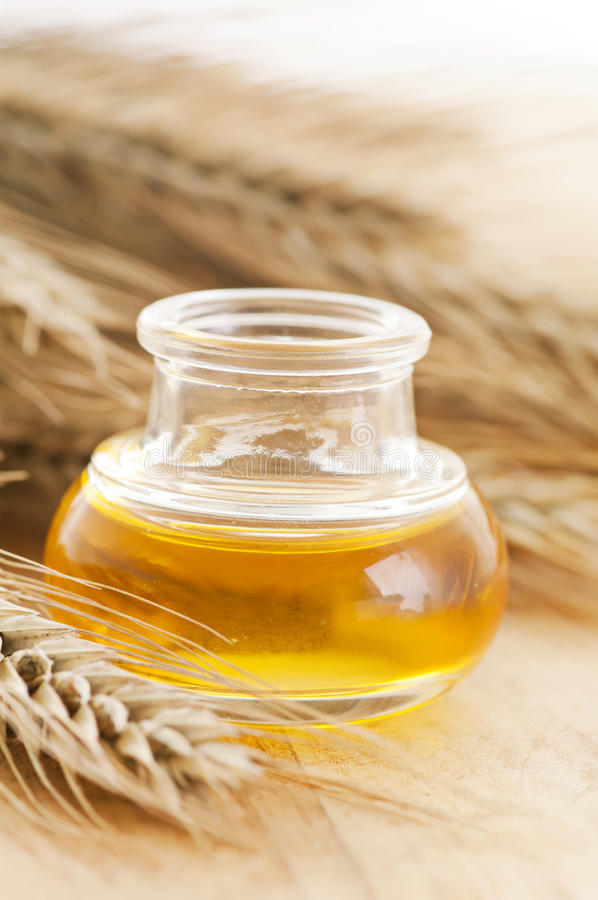 Wheat germ oil. Natural wheat germ oil closeup stock photo