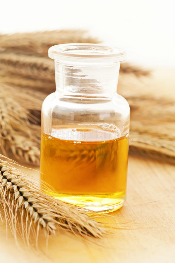 Wheat germ oil. Natural wheat germ oil in the bottle royalty free stock image