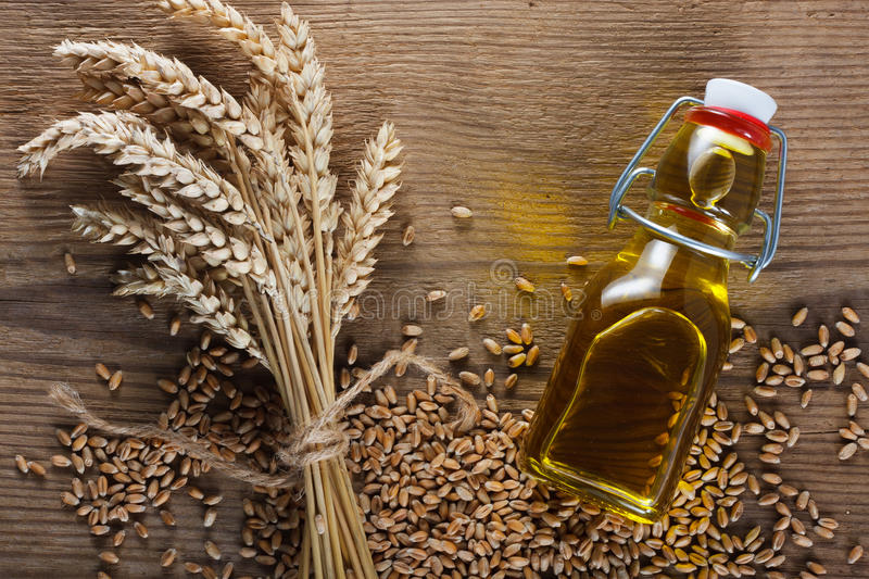 Wheat germ oil. Wheat grain and wheat germ oil stock images