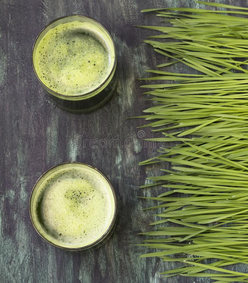 Fresh juice from wheat grass. Wheat grass and glass of green juice- overhead shot royalty free stock photo