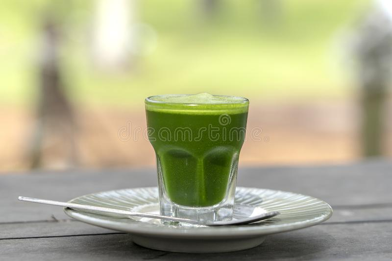 Wheat grass juice natural drink with fresh wheatgrass in glass on old wooden table background. Organic healthy organic green detox. Wheat grass juice natural stock photography