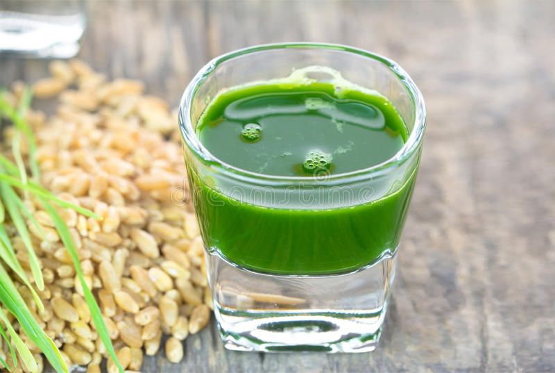 Wheat grass juice on wood background. Wheat grass juice with fresh wheat grass and wheat on wood background stock photography