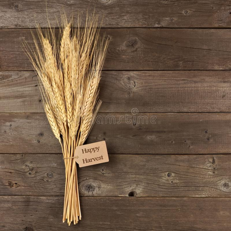 Wheat with Happy Harvest gift tag over wood royalty free stock image