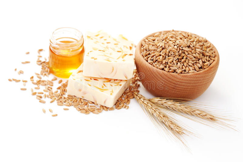 Wheat and honey soap stock photos