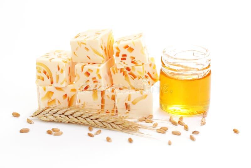 Wheat and honey soap royalty free stock photos