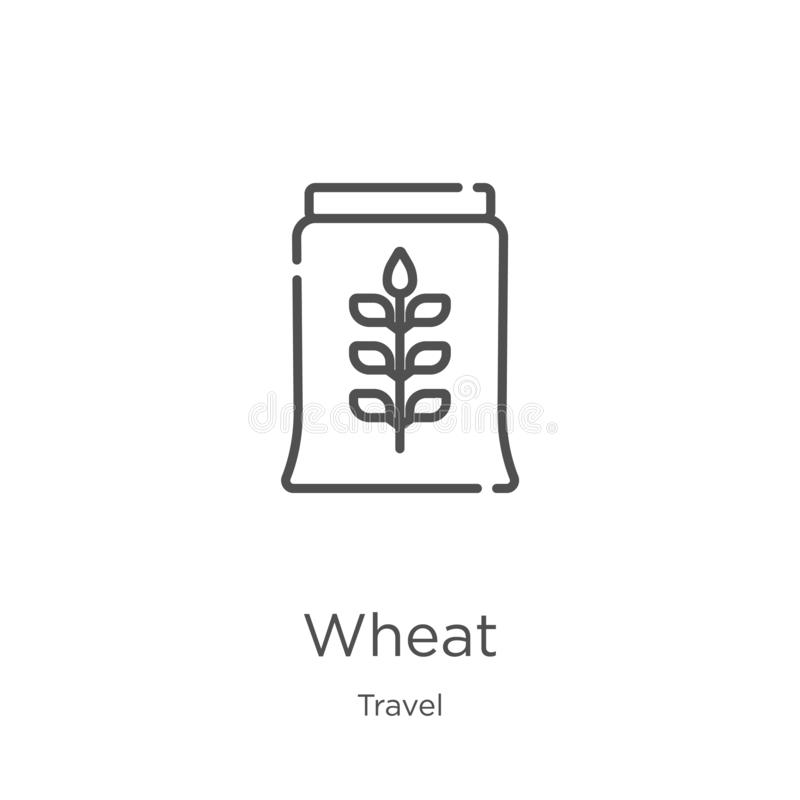 Wheat icon vector from travel collection. Thin line wheat outline icon vector illustration. Outline, thin line wheat icon for. Wheat icon. Element of travel stock illustration