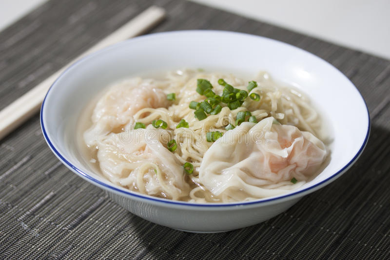Wheat Noodle Soup with Shrimp Wonton royalty free stock photos
