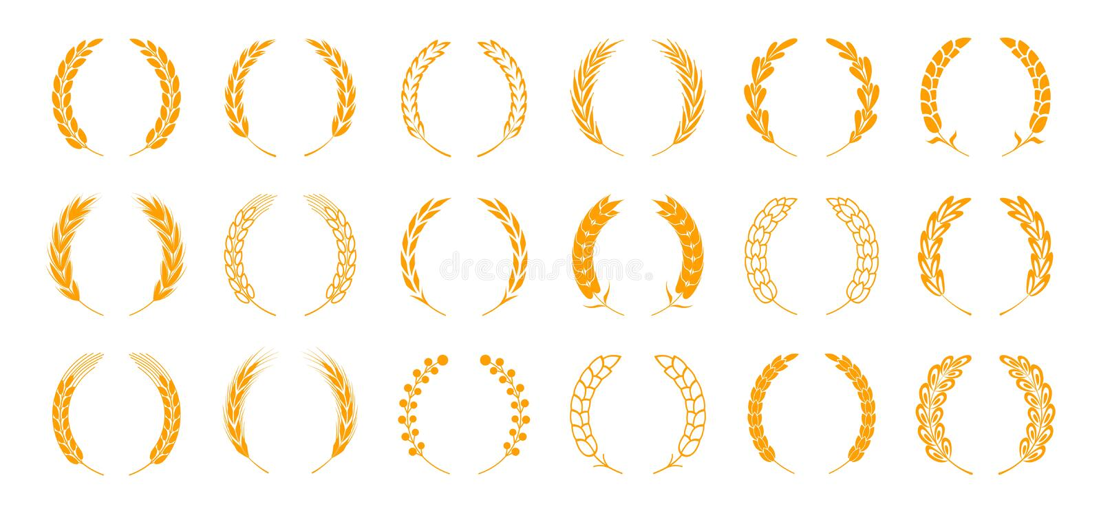 Wheat and rye ears. Wreath spikes and stalks elements for organic food logo and emblem. Vector bread and ear isolated. Wheat and rye ears. Wreath spikes and royalty free illustration