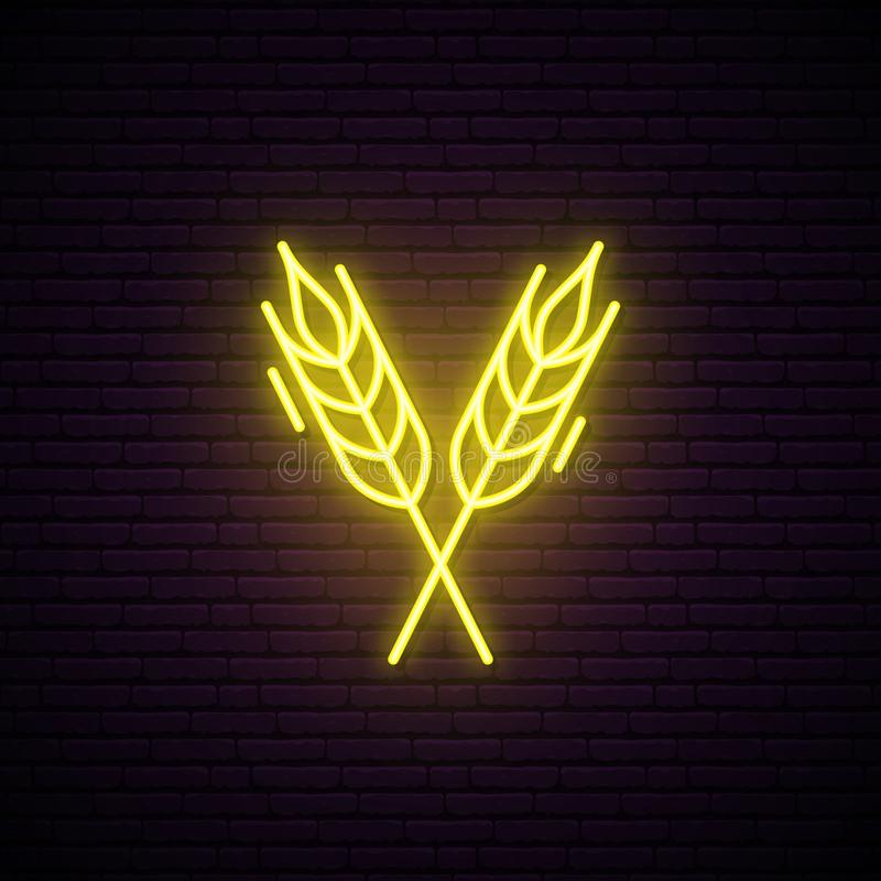 Wheat Spikes neon sign. Bright signboard. Store or cafe neon emblem. Vector illustration vector illustration