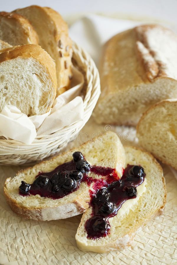 Wheat sweet toast for breakfast with butter and jam. Healthy food. Closeup royalty free stock photos