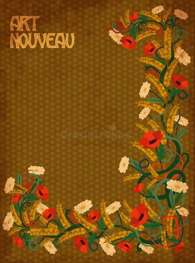 Art Nouveau Inspired California Poppy By Mason Larose: Wheaten Poppies Banner In Art Nouveau Style, Vector Stock