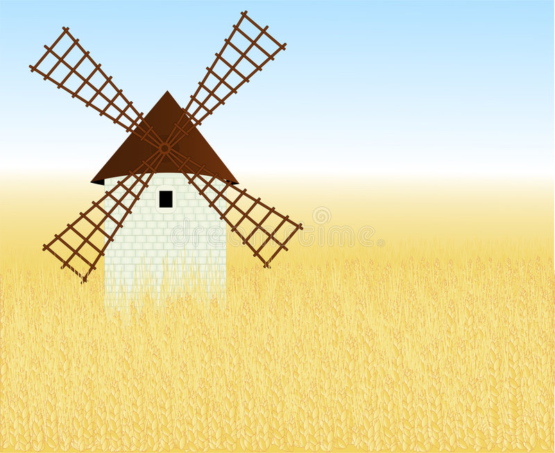 Download Wheaten Field With A Mill Stock Photos - Image: 5325483