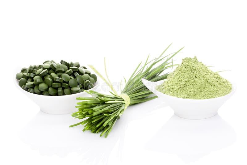 Wheatgrass, chlorella och spirulina. arkivfoto