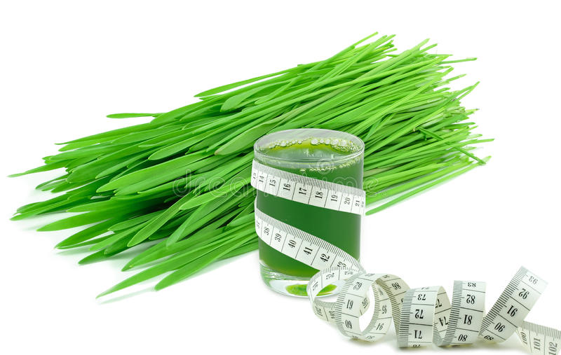 Wheatgrass juice. And tape isolated royalty free stock photos