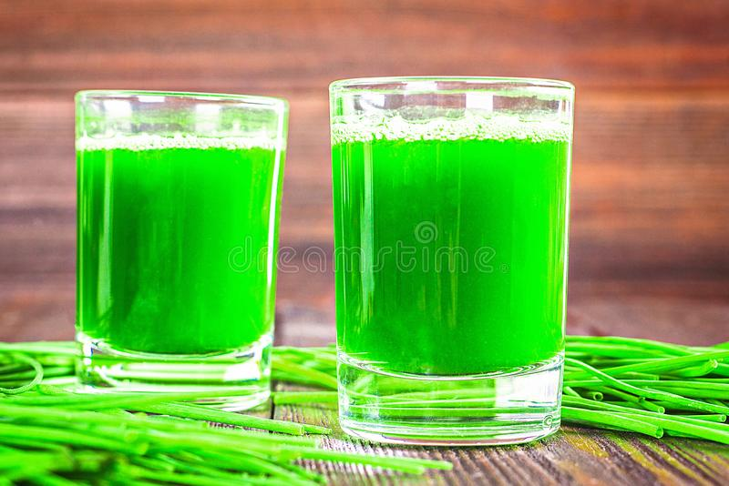 Wheatgrass shot. Juice from wheat grass. Trend of health stock photos
