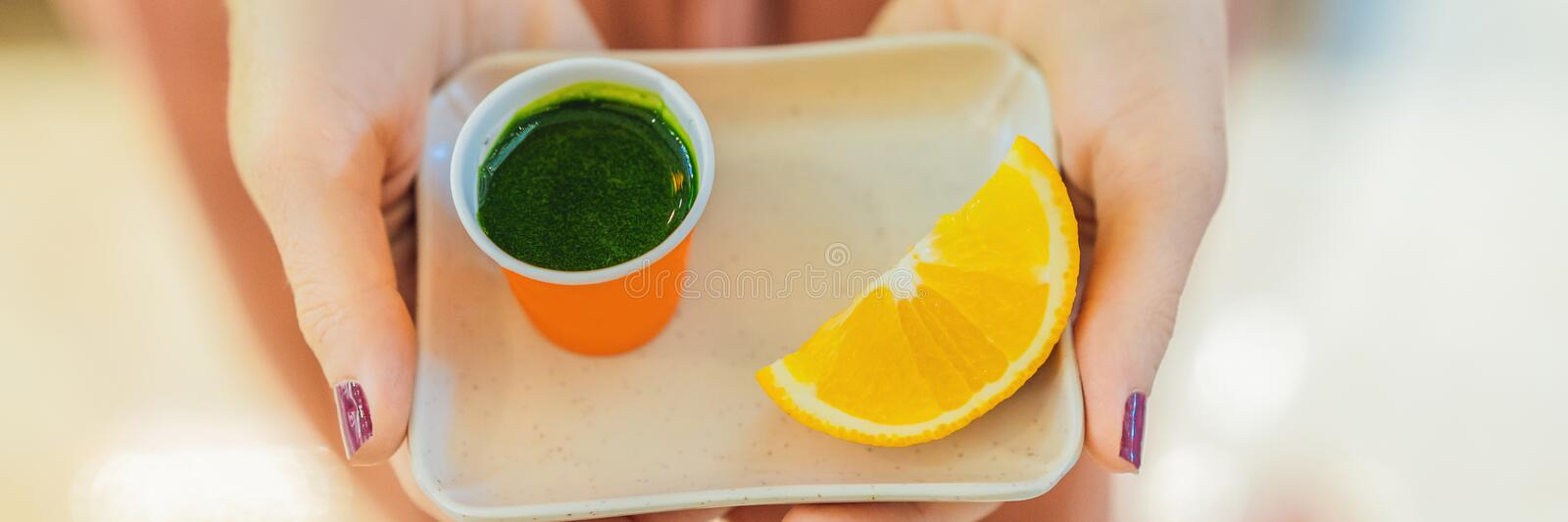 Wheatgrass shot. Juice from wheat grass. Trend of health. wheat grass BANNER, LONG FORMAT stock photo