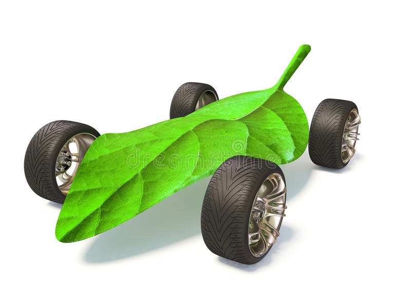 Wheel. Four wheel and green leaf on white background isolated vector illustration
