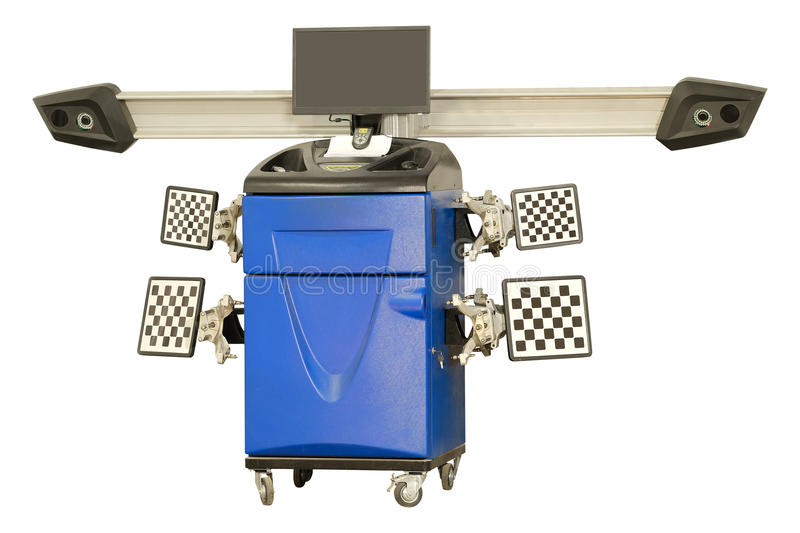 Wheel alignment equipment. In a car repair station royalty free stock photo