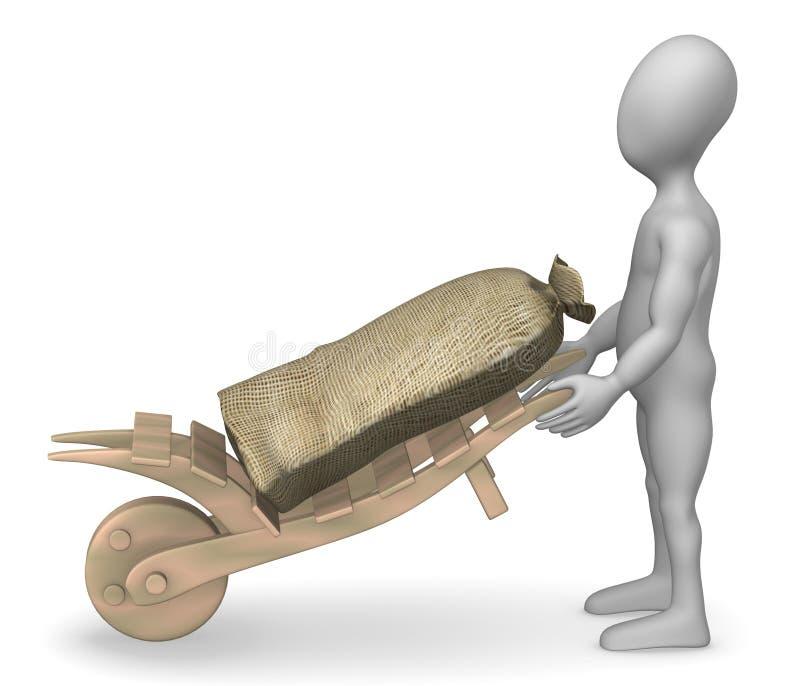 Download Wheel-barrow stock illustration. Image of humanoid, dirt - 15004001