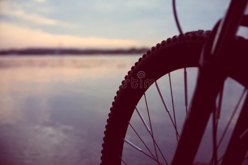 A wheel of bicycle in the evening royalty free stock image