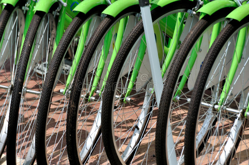 Download Wheel of bicycle in line stock photo. Image of bend, green - 21568884
