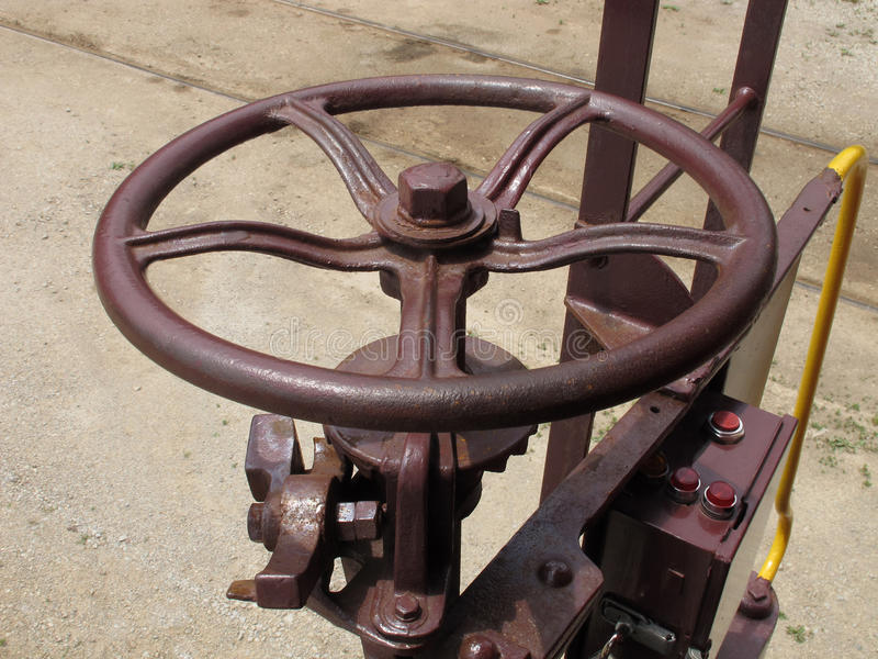 Wheel brake on an old train car. Close-up of a wheel brake and linkages on an old train car royalty free stock photos