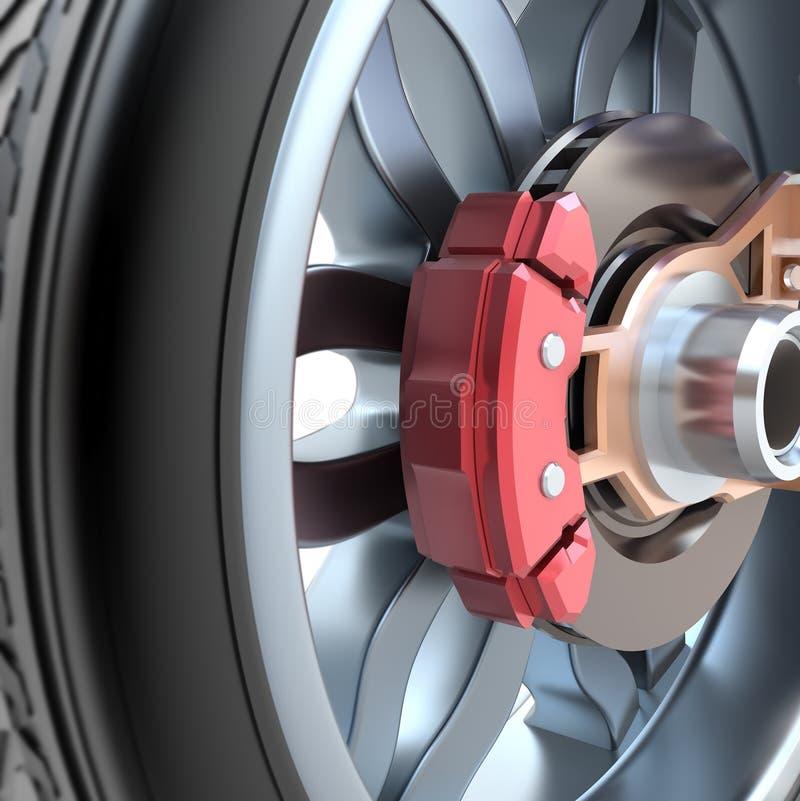 Wheel and brake pads vector illustration