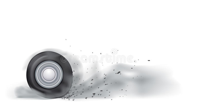 Wheel burn out. Illustration of car wheel burn out with a lot of smoke on white background stock illustration