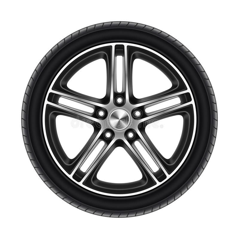 Wheel of car isolated on white or automobile tire. With metal disk. Rubber protector for sport or race. Tire for auto vehicle. Bus or lorry, truck circle royalty free illustration