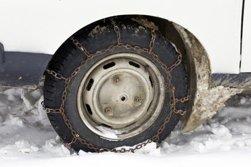 Download Wheel With Chain In Winter Royalty Free Stock Image - Image: 23550816