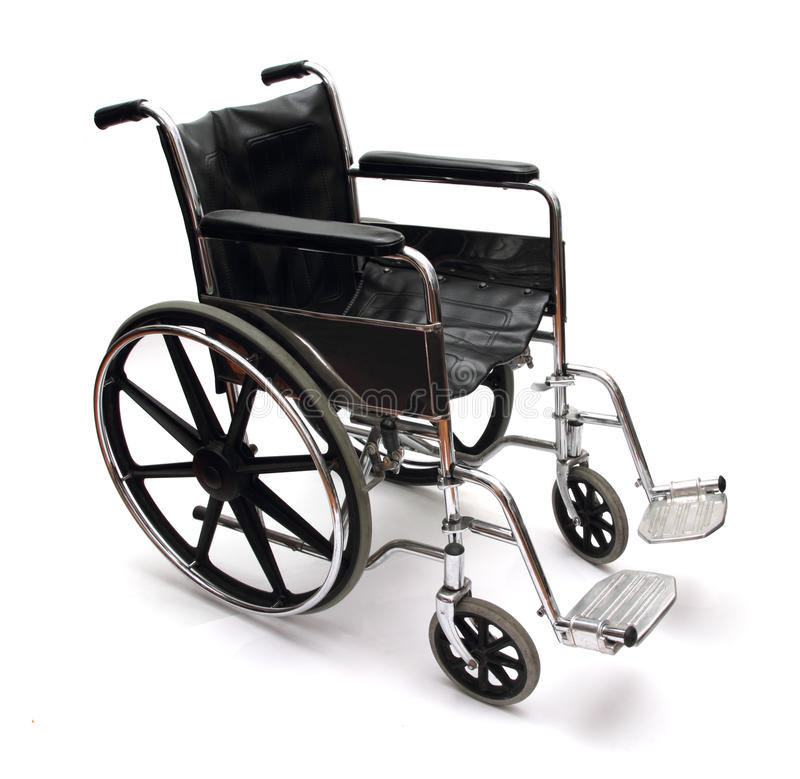 Wheel chair. A black and silver wheel chair on white background stock photos