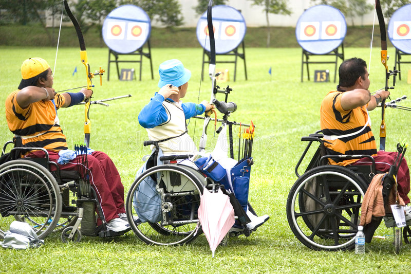 Wheel Chair Archery for Disabled Persons.  stock photography