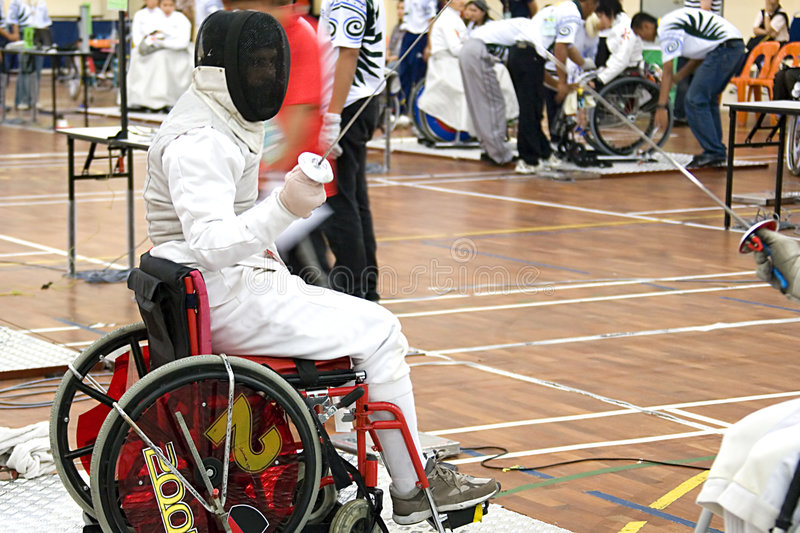 Wheel Chair Fencing. For disabled persons royalty free stock photos