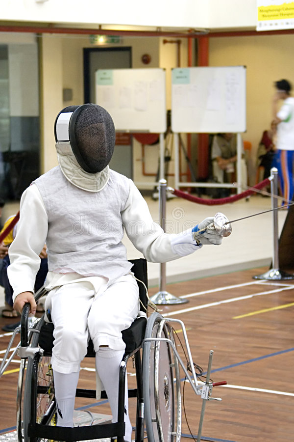 Wheel Chair Fencing. For disabled persons stock photography