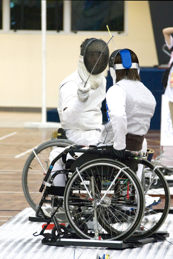 Wheel Chair Fencing for Disabled Persons.  stock photography