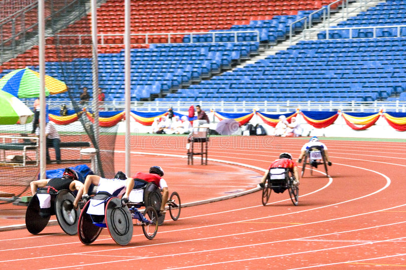 Wheel Chair Race. For disabled persons royalty free stock images