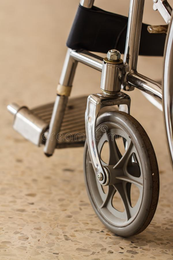 Wheel of wheelchairs that are closely photographed stock photography
