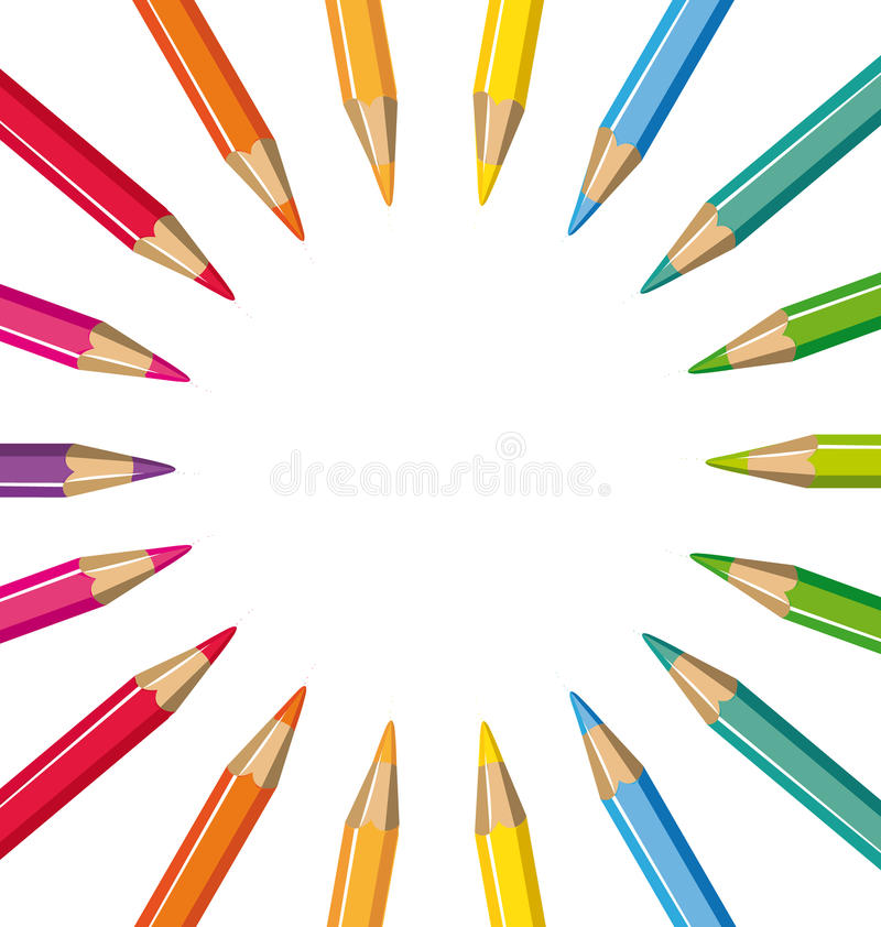 Wheel of colored pencils vector illustration