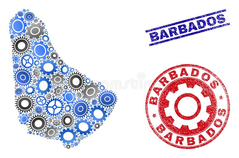 Wheel Composition Vector Barbados Map and Grunge Stamps vector illustration